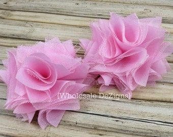 """Light Pink Satin & Tulle Flowers 4"""" - Layered Rosette Large Flowers 4 inches"""