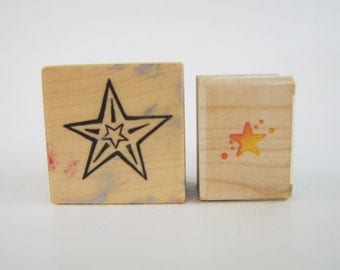 Rubber Stamp Lot of 2 Star Stamps PSX Stampendous Scrapbooking