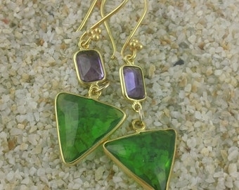 Dramatic Faceted Amethyst and Peridot Green Triange Earrings in faceted quartz