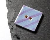Ceramic Button Square Shaped Blue And Purple Stripes