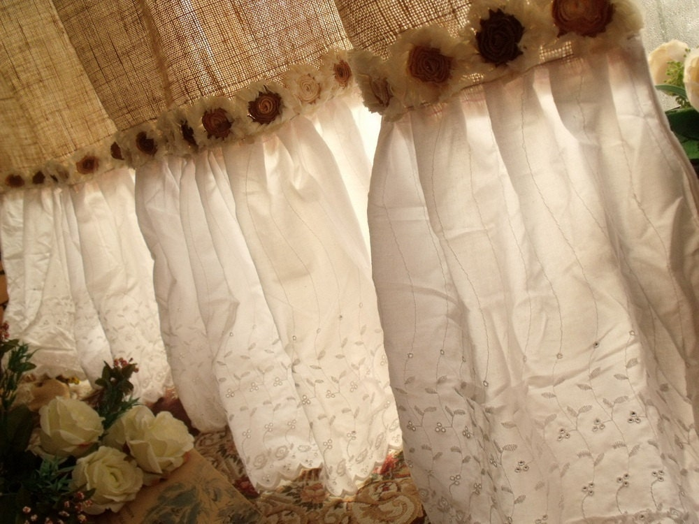 custom eyelet lace ruffles vintage hand crochet shabby. Black Bedroom Furniture Sets. Home Design Ideas