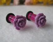 Lavender Single Flare Rose Plugs 2g- Pair