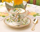 "Vintage Teacup Royal Albert Tea Cup and Saucer English China Floral ""White Dogwood"" Green Yellow Floral - England Circa 1940"