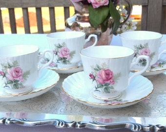 Vintage Teacup Set of 4 China Cups and Saucers Shabby Pink Roses Royal Stafford English Bone China Cottage Chic  Afternoon Tea Party