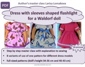 pdf handbook on sewing, Pattern pdf, dress with sleeves shaped flashlight for a Waldorf doll,clothes tutorial,14-15-16-17 inch doll clothes