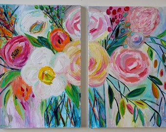 "Large Still Life, Abstract Flowers, Colorful Bouquet in vase, Large Diptych, by Carolyn Shultz ""Jess"" 48"" x 36"" FREE SHIP!"