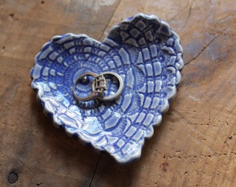 Antique Lace Heart Tea Spoon Rest, Tea Bag Holder, Trinket Dish, Sapphire Blue, In Stock, Ready to Ship