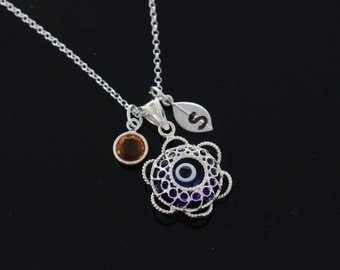 Evil Eye Necklace, Personalized evil eye necklace, 925 Sterling silver evil eye Pendant and chain. Choose initial and birthstones, evil eye