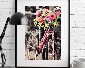 Bicycle Photography,Bicycle Wall Art,Red Bike,Travel Photography,Hong Kong Street Scene,Bike Print,Bicycle print