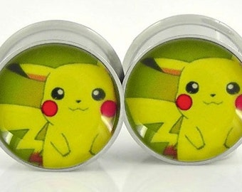 Pikachu Image Plugs - 18g,0g,00g,7/16,1/2, 9/16, 5/8,11/16,3/4,7/8