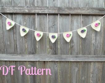 Sweet Rose Bunting Crochet Pattern Instant Download PDF, Crochet Bunting Pattern, Crochet Garland Pattern
