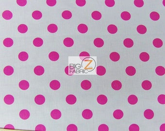 Big Polka Dot Polycotton Fabric - WHITE/FUCHSIA Dots - Sold By The Yard - Poly Cotton