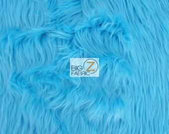 "Solid Shaggy Faux Fur Fabric - AQUA - Sold By The Yard 60"" Width"