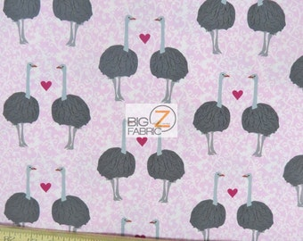 """100% Cotton Fabric By Laurie Wisbron For Robert Kaufman - Olive The Ostrich Pink - 45"""" Width Sold By The Yard (FH-1551)"""
