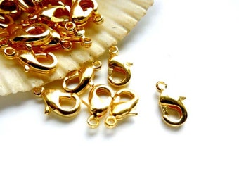 15 Gold Plated Lobster Claw Clasps - 14-3