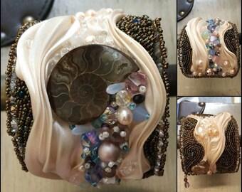 Shibori Bead Embroidered Cuff Ammonite