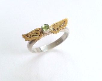 Angel wing and peridot sterling and brass ring