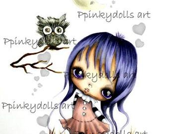 INSTANT DOWNLOAD Digital Digi Stamps..by Chrishanthi's art,Moongirl and owl.''
