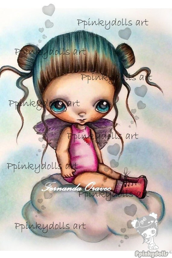 INSTANT DOWNLOAD Digital Digi Stamps..by Chrishanthi's art,Cloud Lily''
