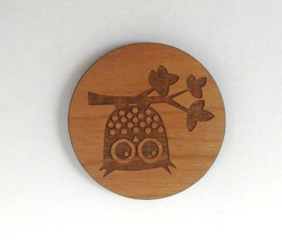 Laser Cut Supplies-1 Piece.Owl on Branch Charms - Cherry Wood Laser Cut Owl -Brooch Supplies- Little Laser Lab Sustainable Wood Products