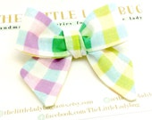 3 Inch Knotted Fabric Bow Headband or Bow, Pastel Plaid, Easter, Spring, Baby, Toddler