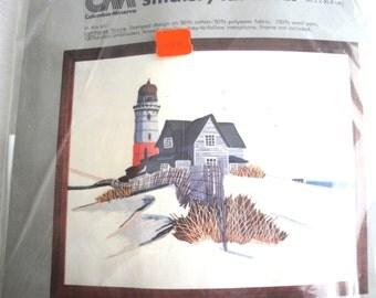 Vintage Columbia Minerva Embroidery Kit #7293 - Lighthouse Picture - NIP