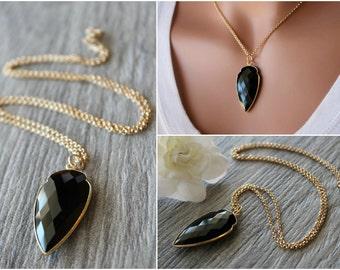 Large Black Onyx Arrowhead Pendant Necklace, Jet Black Gemstone,  Arrow Head Necklace, Long Necklace, Long Pendant