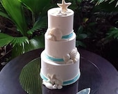 Collection of 20 white chocolate seashells for your wedding cake choice of colors