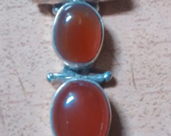 Vintage Carnelian Silver Pendant
