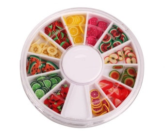 Wheel of 144 Mixed Fruit/food Clay Cane Slices/ pre sliced