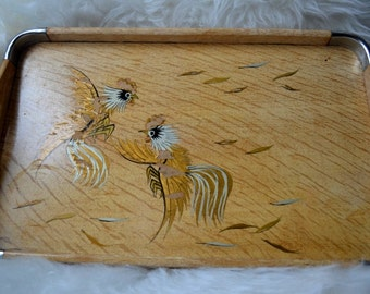 Vintage Wooden Handpainted Rooster Tray