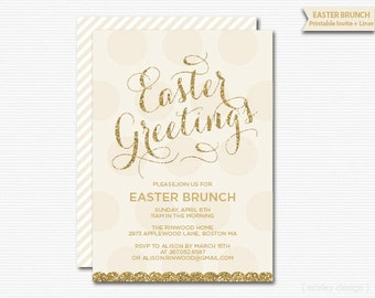 Gold Glitter Invitation Easter Brunch Invitation Modern Glam Printable Brunch Invitation Party Dinner Invitation Easter Card Easter Egg Hunt