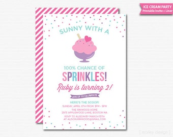 Ice Cream Invitation Ice Cream Party Ice Cream Social Printable Girls Birthday Invite Summer Party Summer Birthday Sundae Invitation DIY
