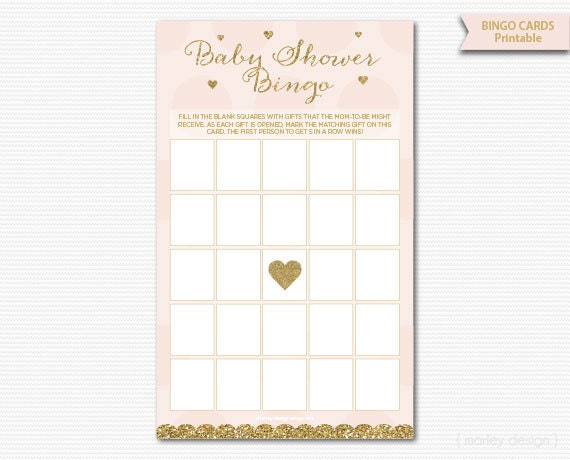 Pink And Gold Baby Shower Bingo Cards Printable Baby