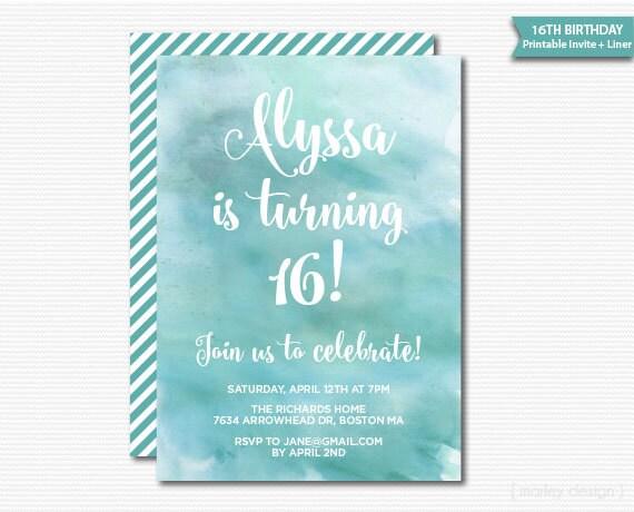aquarell teen einladung 16. geburtstag teen birthday tween, Einladungsentwurf