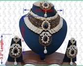 Indian Jewellery Set Handmade Gold Alloy and Rhinestones Black & Clear Stones