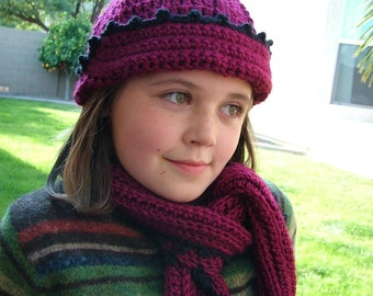 Girls Crochet Hat and Scarf with Small Edging Trim