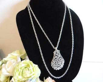 Vintage Crown Trifari Silver Filigree Pendant and Chain Necklace  - Lovely Double Chain Necklace - Classic Elegant Crown Trifari