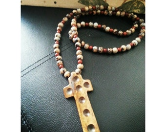 Beaded Necklace with Carved Bone Cross Pendant