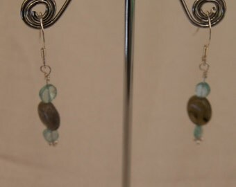 Labradorite and Apatite Sterling Silver Earrings