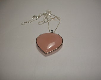 Polished Rose Quarts Heart 925 Silver Necklace