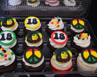 Bob Marley Inspired Fondant Cupcake Toppers