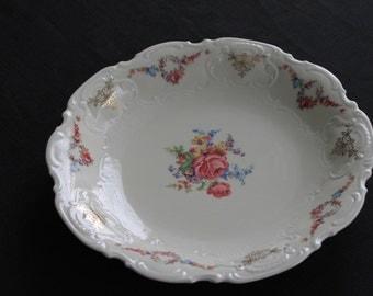Vintage Bavaria Schinding Serving Deep Dish Plate Roses
