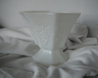 Grapes and leaves milk glass candy dish