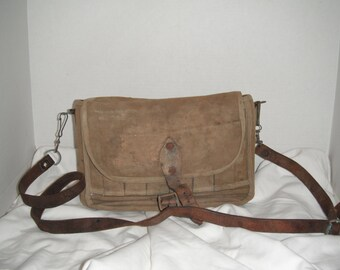Very old J T Scothline canvas creel bag with