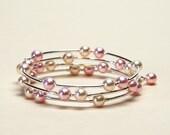 Pale Pink and Cream Rose Swarovski Crystal Pearl Memory Wire Bracelet