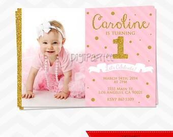 Pink and Gold Birthday Invitation