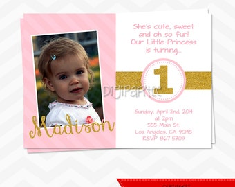 Gold and Pink Birthday Party Invitation