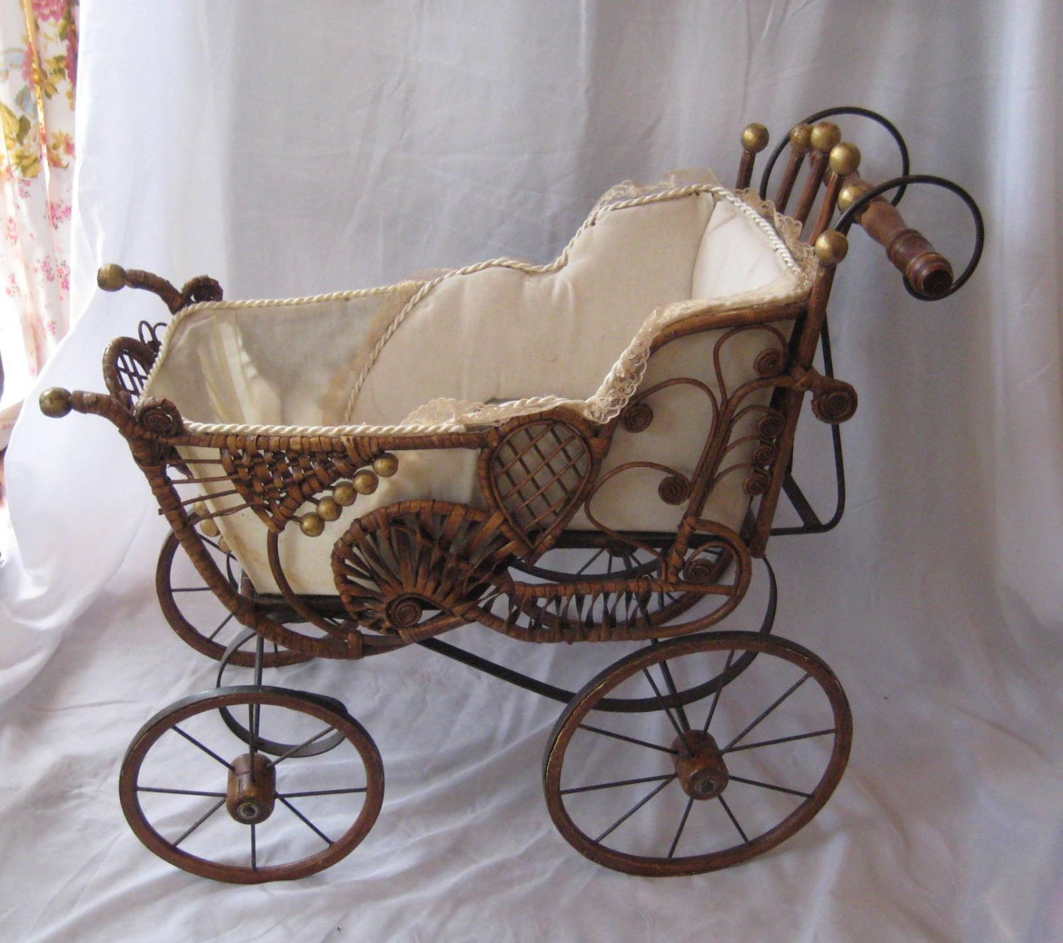 Antique Wicker Doll Stroller From 1800s Vintage Pram Vintage