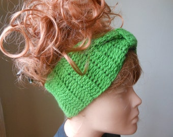 Crochet Headband  Ear Warmer Turban Head Warmer Green